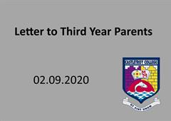 Letter to Third Year Parents/Guardians
