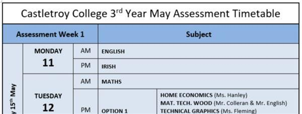 3rd Year May Assessments Timetable