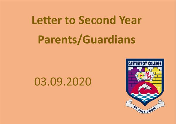 Letter to 2nd Year Parents/Guardians 03.09.2020