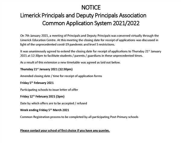 Closing date extended for receipt of CAS Applications.