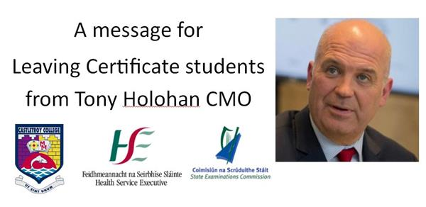 Message to Leaving Certificate students from Tony Holohan CMO