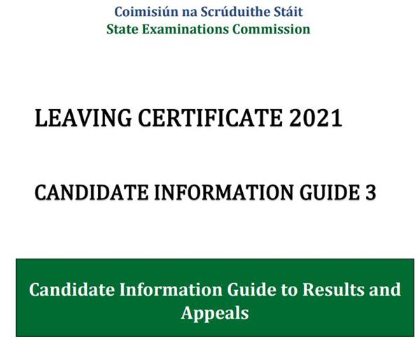 Candidate Information Guide 3 for Leaving Certificate 2021 students,