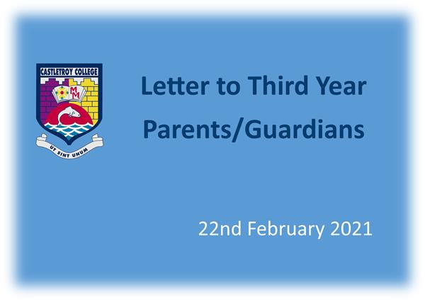Letter to Third Year Parents-Guardians