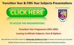 Transition Year & 5th Year Presentations available HERE,
